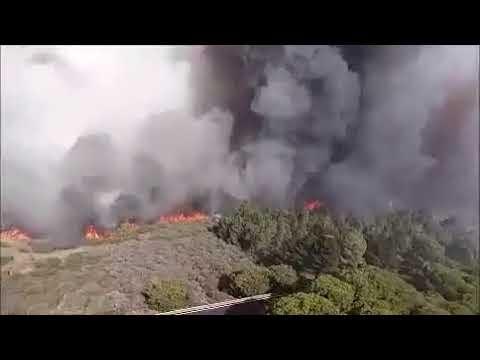 Incendio de GC a vista de helicóptero