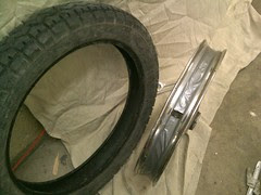 Some tape to hold spoke protecting rubber in place