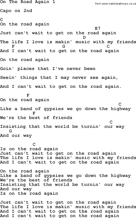 Willie Nelson On The Road Again Lyrics And Chords