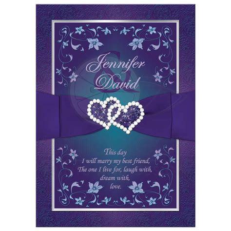 Wedding Invitation   Purple, Teal Floral   Printed Ribbon