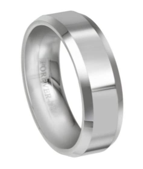 Mens Tungsten Carbide Wedding band with Beveled Edges