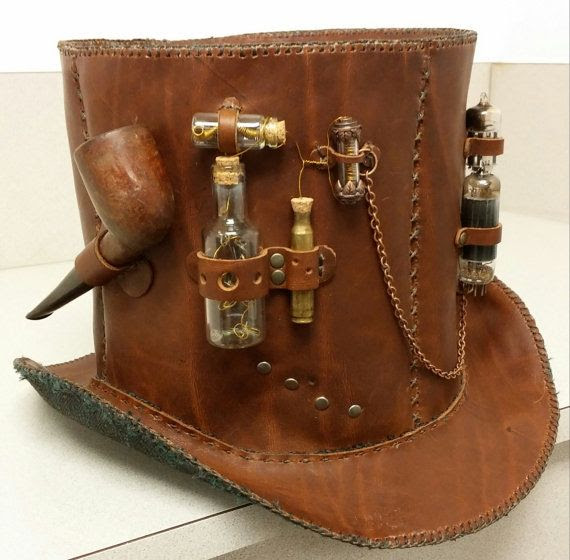 Steampunk Leather Top Hat with Briar Smoking Pipe Vials full of Clockwork Parts Radio Tubes Chain D-Rings and a Bullet Casing Hand Stitched! on Etsy, $134.99