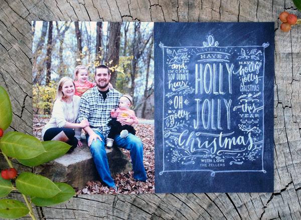 holly jolly christmas - chalk style photo card