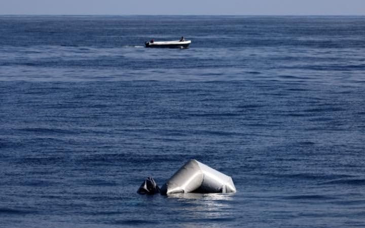 Remains of a migrant raft are seen in central Mediterranean Sea