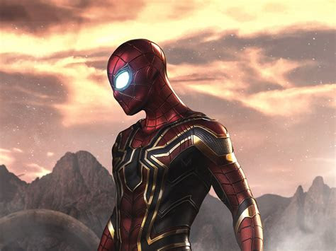 wallpaper spider man iron spider armour marvel comics superhero hd  creative graphics
