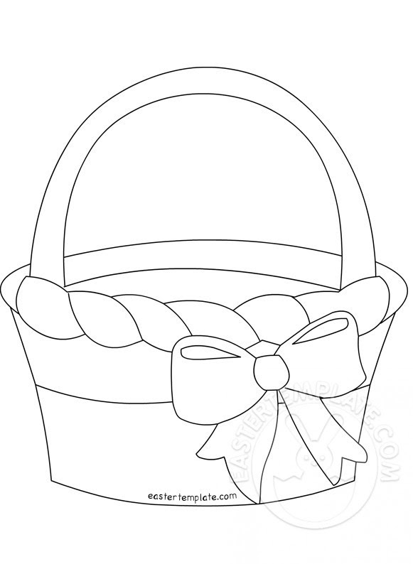 Easter Basket With Bow Black And White Easter Template
