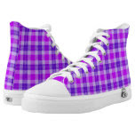 Tri-colored Purple Plaid Printed Shoes