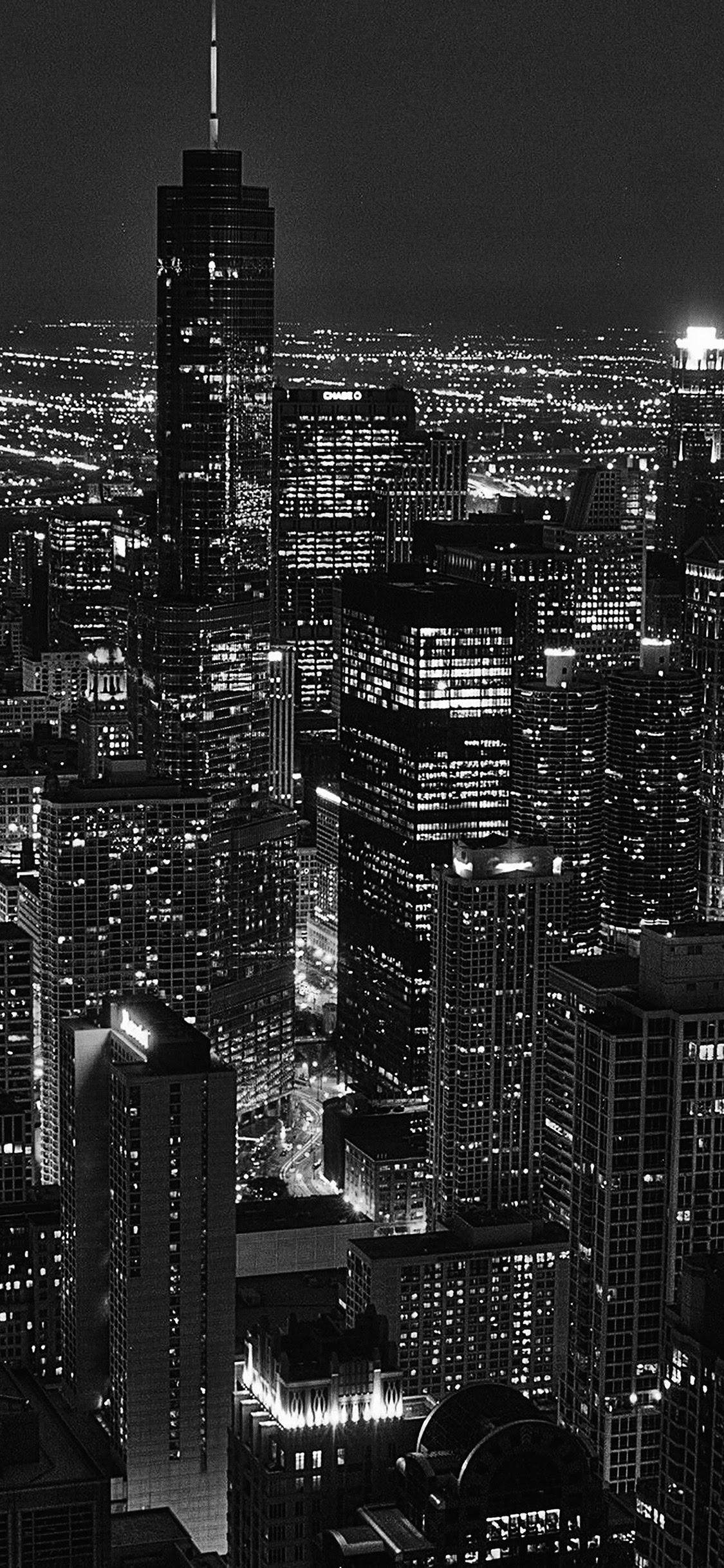 Ml84 City View Night Dark Bw