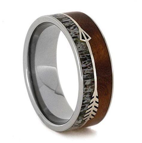 Silver Arrow Ring With Ironwood, Titanium Wedding Band