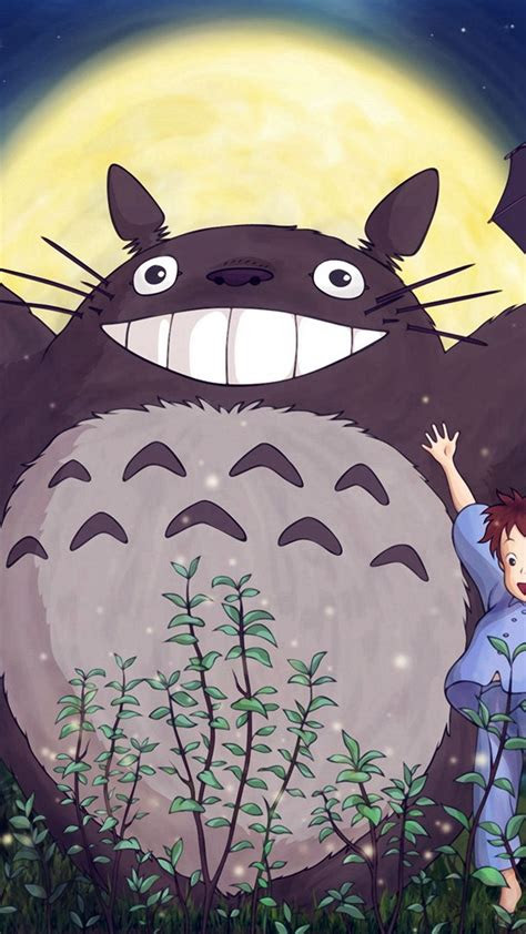 totoro forest anime cute illustration art blue iphone