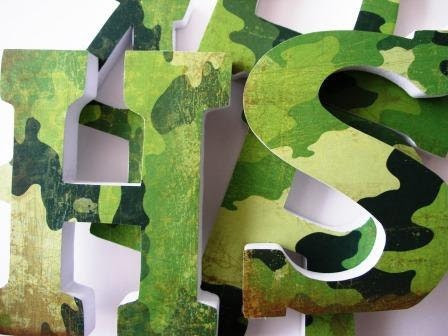 Custom Decorated Wooden Letters CAMOUFLAGE Kitchen by LetterLuxe