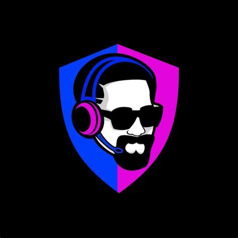cool man shield gaming logo vector background blue boy