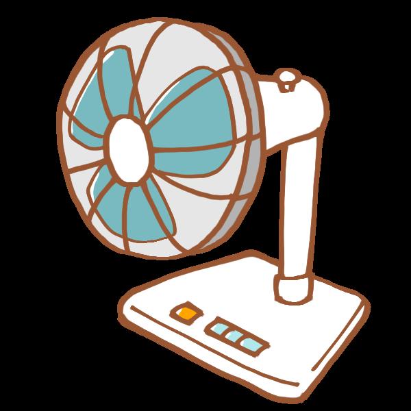 昔ながらの白い扇風機のイラスト かわいいフリー素材が無料のイラスト