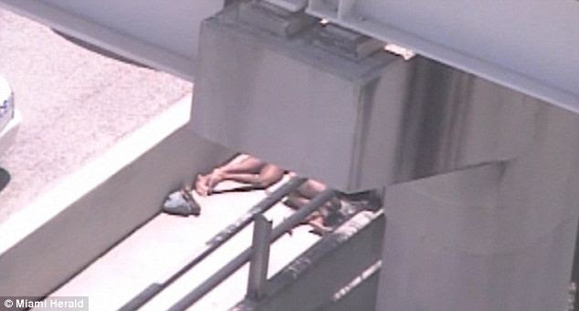 Down: Surveillance footage shows the two naked men lying on the walkway next to a major Miami highway, and since the left body never moves, he is the victim whose face was being chewed by the right man