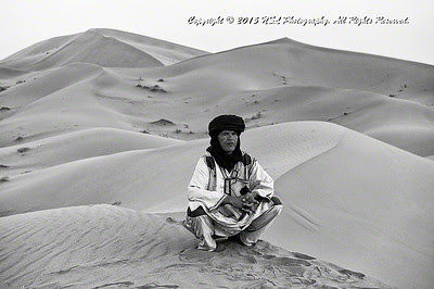 Guide in the Sahara Desert, Morocco, at dawn