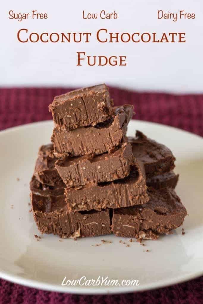 Dairy Free Coconut Chocolate Fudge | Low Carb Yum