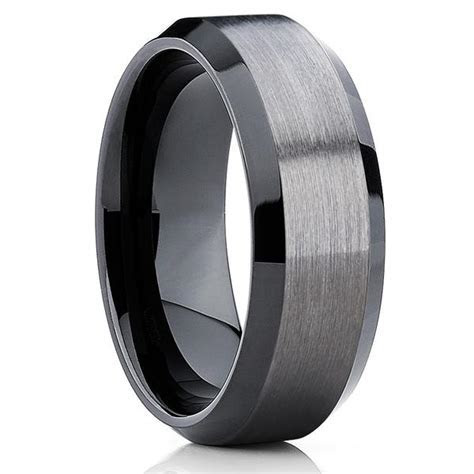 10mm   Black Tungsten Wedding Band   Gray Wedding Band