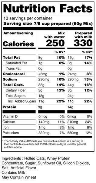 Bernard Hi-Protein Oatmeal Mix | eDietShop