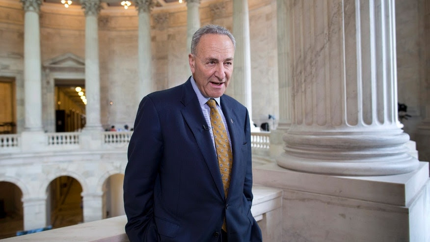 FILE -- Sen. Chuck Schumer, D-N.Y., talks during a television news interview on Capitol Hill in Washington.