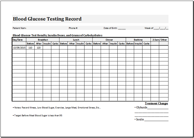 blood glucose testing record sheet template word amp excel templates. Black Bedroom Furniture Sets. Home Design Ideas