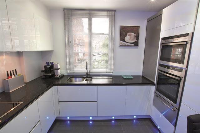 White gloss kitchen design Modern Kitchen London