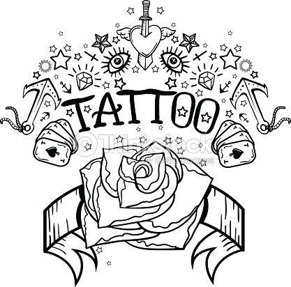 Vector Old School Tatuaje Blanco Y Negro Ilustraciones Arte