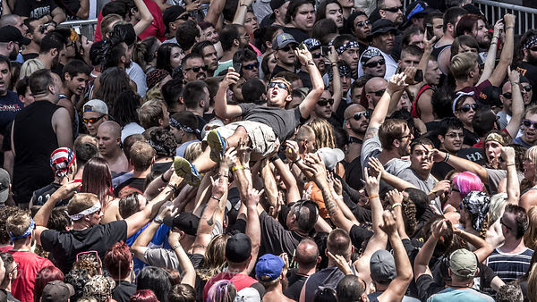 Crowdsurfers at Chicago Open Air