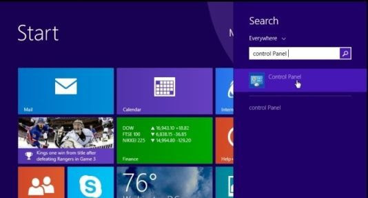 [Image: Type Control Panel in Windows 8 search box]