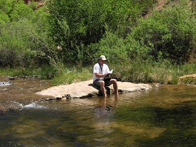 Roland Lee sketching on Calf Creek