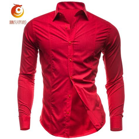 mens shirts cotton red shirt men casual camisas hombre