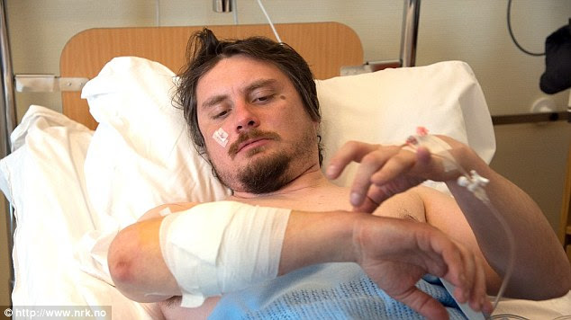 Injured: Jakub Moravec, 37, was hospitalised after the bear attacked him as he slept
