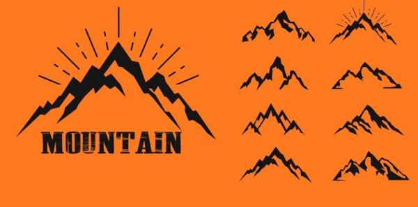 Gunung Ikon Koleksi Berbagai Datar Sketsa Vektor Misc Vektor Gratis