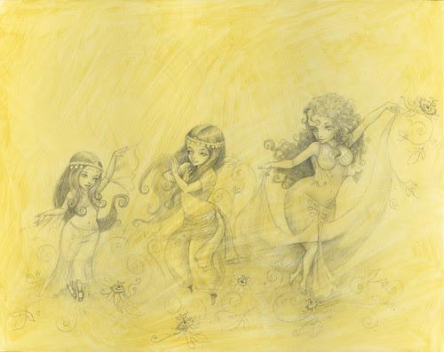 WIP Little Goddesses - Pencils