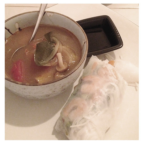Tom Yum Soup with Vietnamese Spring Rolls