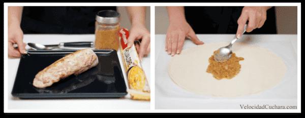 Abre la lámina de hojaldre y pon en el centro la cebolla caramelizada fria