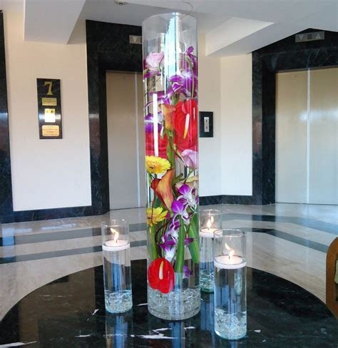 "Tropical flowers, modern centerpiece, 31"" tall crystal"
