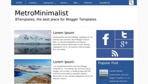 """MetroMinimalist"" Niche Blog Templates Free + Responsive and Simple Design"