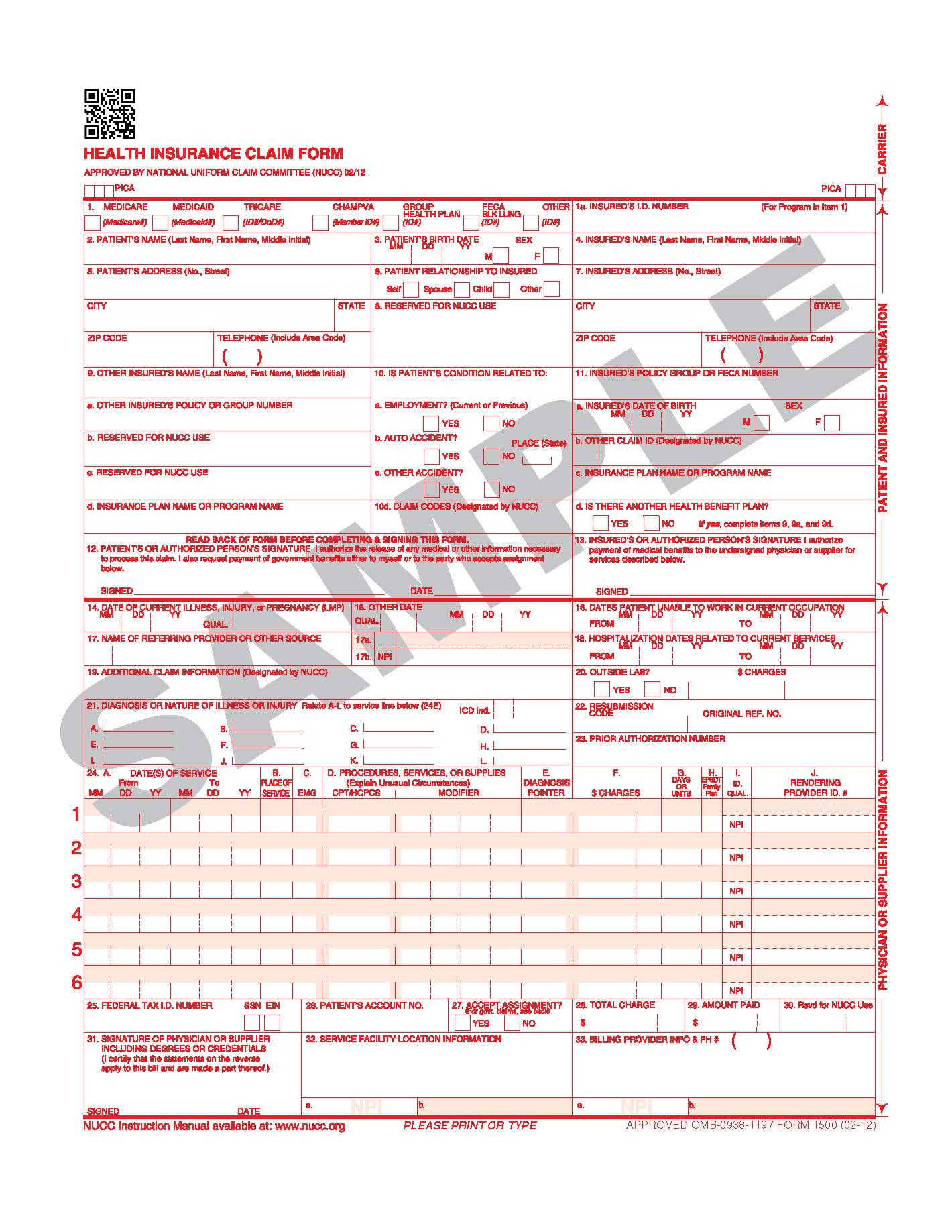 NEW CMS 1500 claim form version 2012_02