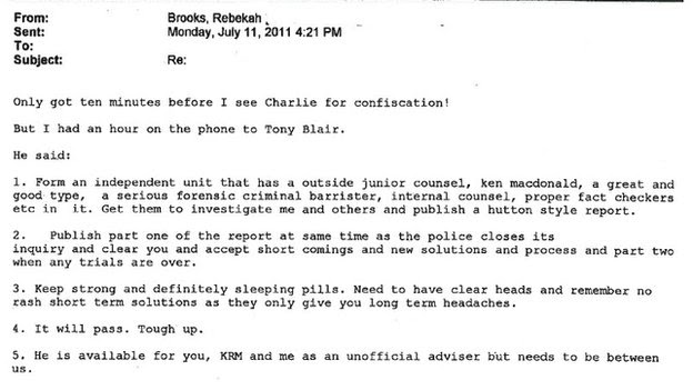 Copy of the email sent by Rebekah Brooks to James Murdock following a conversation with Tony Blair