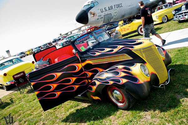 Hot Rod Dan's 37 at the Stray Kat Starliner at the Kansas Aviation Museum