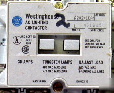 Westinghouse 6 p lighting contactor A202K1CAM 30A 120V