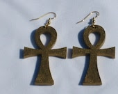 Key of Life Gold Ankh Wood Earrings