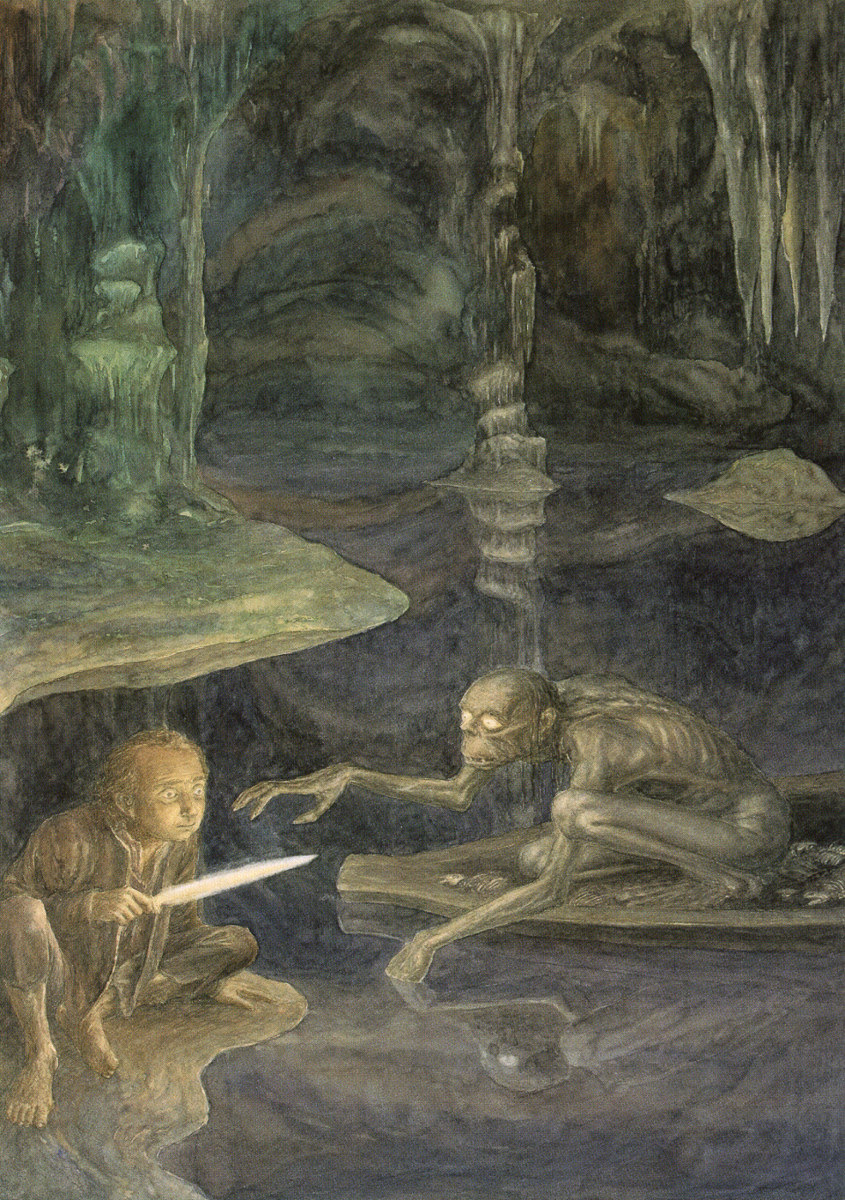 Bilbo and Gollum face off