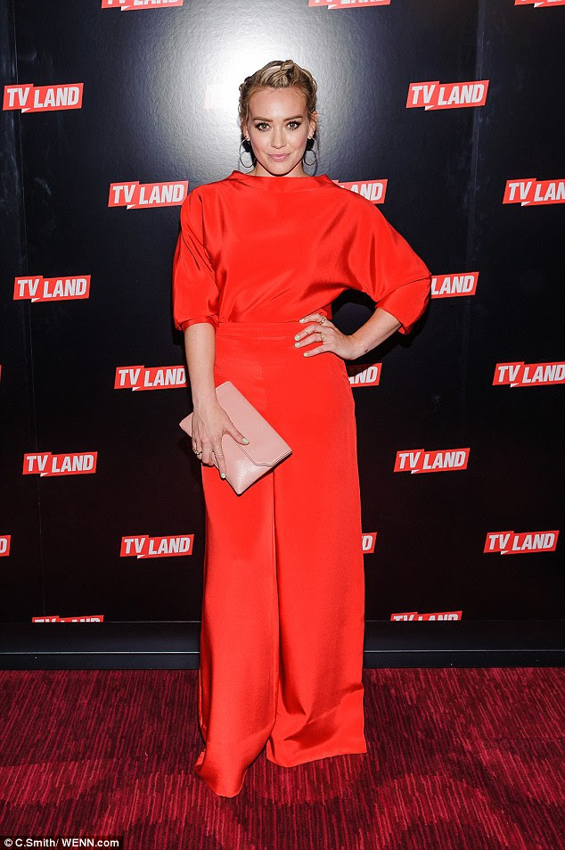 Lady in red: Hilary Duff looked gorgeous in all scarlet at the Viacom Kids and Family Group Upfront in New York on Thursday