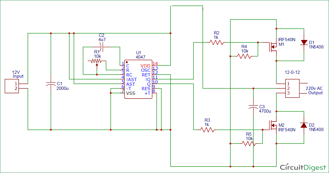 100 Watt 12v Dc To 220v Ac Inverter Circuit Diagram