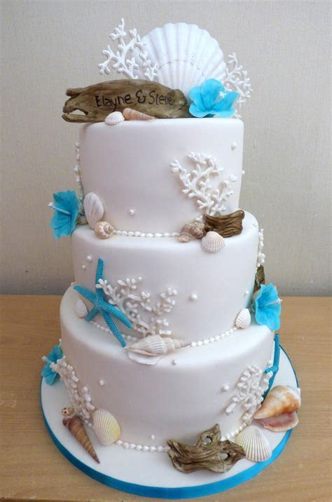 3 Tier Beach Themed Wedding Cake with Driftwood « Susie's