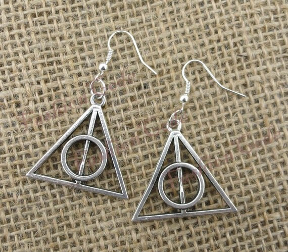 Deathly Hallows Earring,Harry potter Earring--Antique Silver Earring----Best Chosen Gift