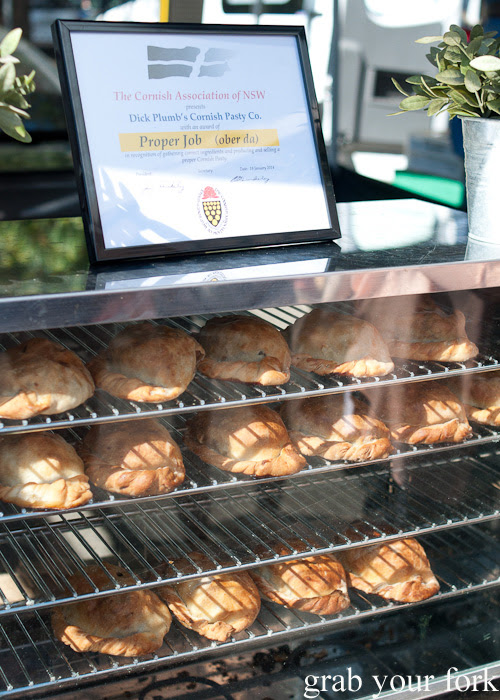 Dick Plumb's cornish pasties at Frenchs Forest Organic Food Market