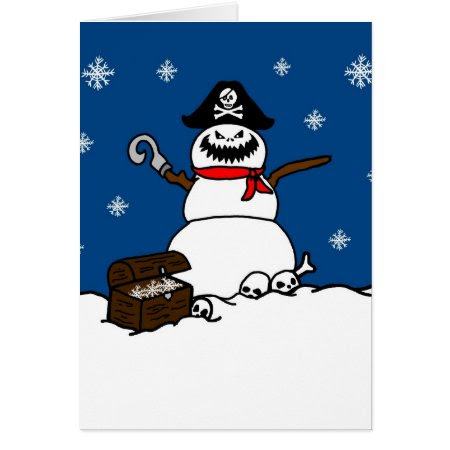 Christmas Pirate Snowman Greeting Card