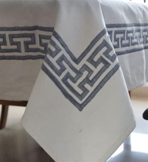 Table Cloth White Cotton Table Linen Gray Greek Key